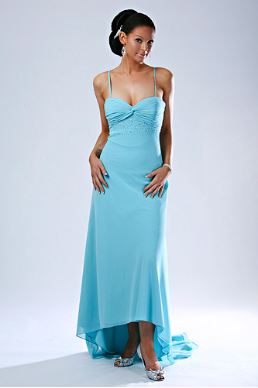 Satin and Chiffon Long  Bridesmaid Dress