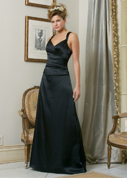 Flattering Satin Long Bridesmaid Dress