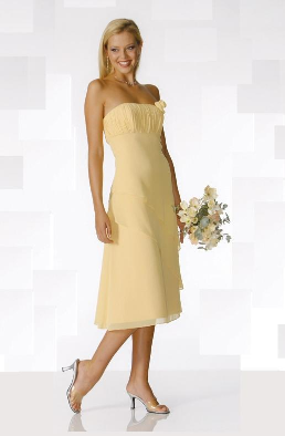 Strapless Chiffon Tea Length Bridesmaids Dress