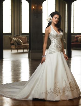Halter Neckline Embroidered Satin Bridal Gown