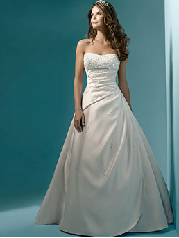 Romantic Strapless A-Line Satin