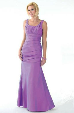 Scoop Neckline Fit and Flare Taffeta Gown