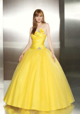 Cute Tulle over Satin Quinceanera Gown