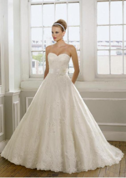Outstanding Satin and Lace Bridal Ballgown