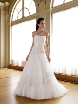 Strapless Embroidered Tulle over Satin Bridal Gown