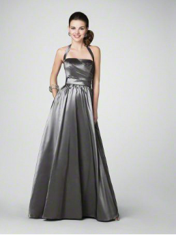 Pretty and Practical Halter Neckline Satin Gown