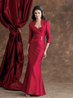 Sweetheart Neckline Satin Mother of the Bride Gown