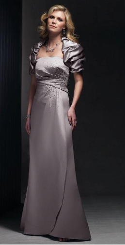 Strapless Satin Full Length Gown