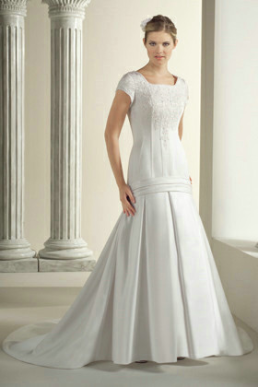 Satin Drop-Waist Modest Wedding Dress