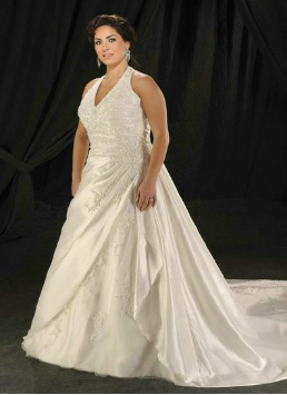 Halter Neckline Satin and Lace Full-Figure Wedding Gown
