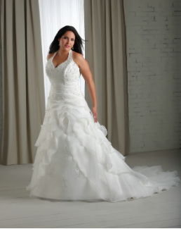 Full-Figure Halter Neckline Organza and Lace Bridal Gown