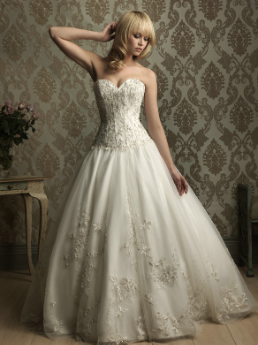 Embroidered Satin and Tulle Wedding Gown with Lace