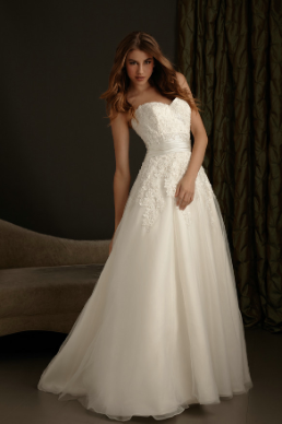 Embroidered Satin and Organza Princess Gown