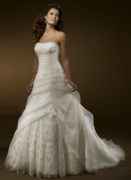 Strapless Organza and Embroidered Lace Ballgown