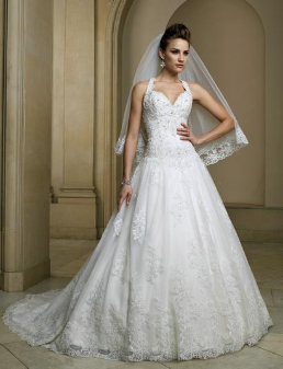 Satin and Organza Halter Neckline Wedding Gown