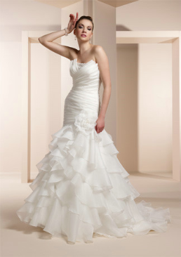 Strapless Organza Fit and Flare Ruffle Gown