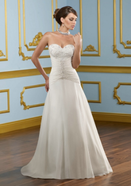 Sweetheart Neckline Chiffon over Satin Wedding Dress