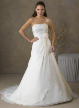 Chiffon over Satin Gown with Lace Bodice