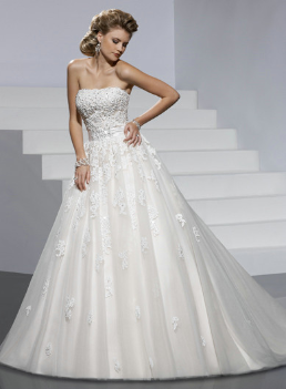 Satin Wedding Ball Gown with Organza Overlay