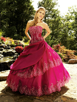 Taffeta with Lace Quinceanera Dress