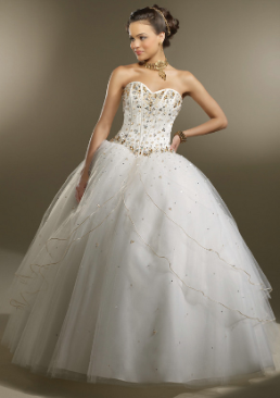 Strapless Satin and Tulle Quinceanera Gown