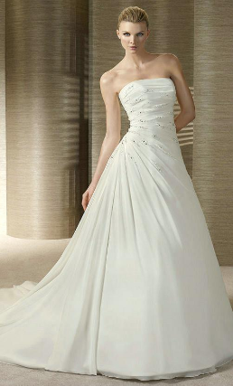 Strapless A-Line Satin and Chiffon Wedding Gown