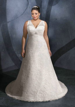 A-Line Satin and Lace Gown with Wide Shoulder Straps