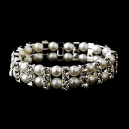Silver White Bracelet with Rhinestone Crystals and Pearls