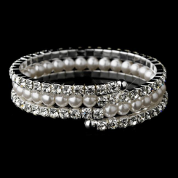 Silver Rhinestone and Pearl Coil Bracelet