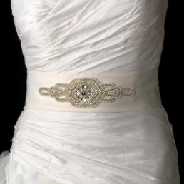Vintage Crystal Matte Satin Wedding Sash