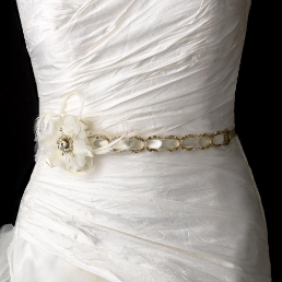 Gold Accented Ribbon Belt with Feathers