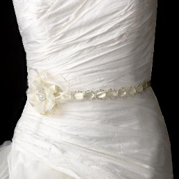 Silver Accented Ribbon Belt with Feathers