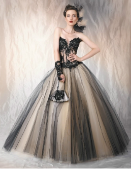 Black Lace and Tulle Strapless Sweetheart Ballgown