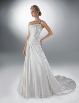 One-Shoulder Satin da Vinci Gown in stock size 16