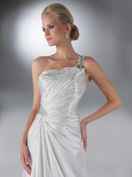 One-Shoulder da Vinci Bridal Gown for rent size 16