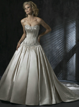Chic Embroidered Satin Dropped Waist Ballgown