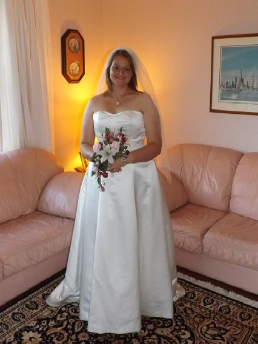 Strapless Sweetheart Neckline Satin Wedding Gown in stock size 12