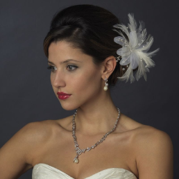 Feather Pearl and Austrian Crystal Flower Bridal Hair Clip