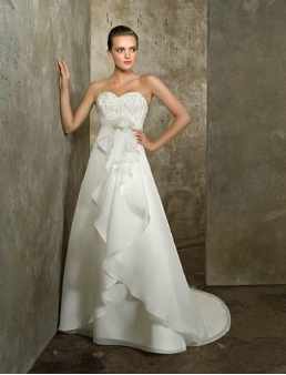 Delicate Sweetheart Neckline Satin and Chiffon