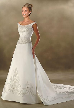 Embroidered Off-the-Shoulder Satin Wedding Gown