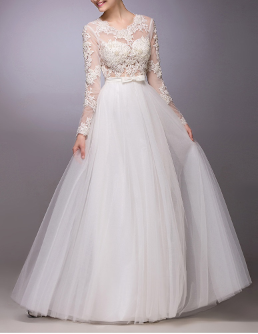 Embroidered Organza Wedding Dress with Long Sleeves