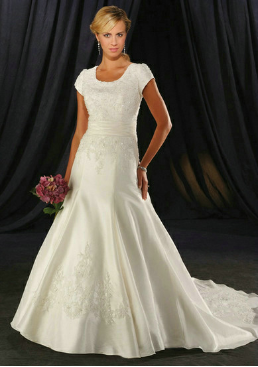 Embroidered Satin and Lace Wedding Dress