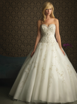 Embroidered Satin and Organza Princess Wedding Gown