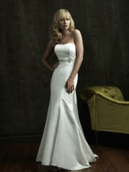 Figure Hugging Strapless Satin Wedding Gown