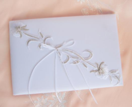 Embroidered Lily Wedding Guest Book