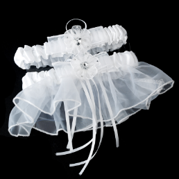 Elegant Sheer Double Bridal Garter Set