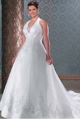 Halter Neckline Floor Length Embroidered Wedding Dress