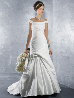 Inexpensive Off-the-Shoulder Taffeta Wedding Gown