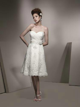 Knee Length Strapless Satin and Lace Wedding Dress