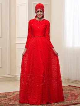 Long Sleeve Lace Muslim Wedding Dress with Beading